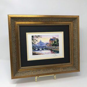 Italy Venice Canal Watercolor Print Framed 3A